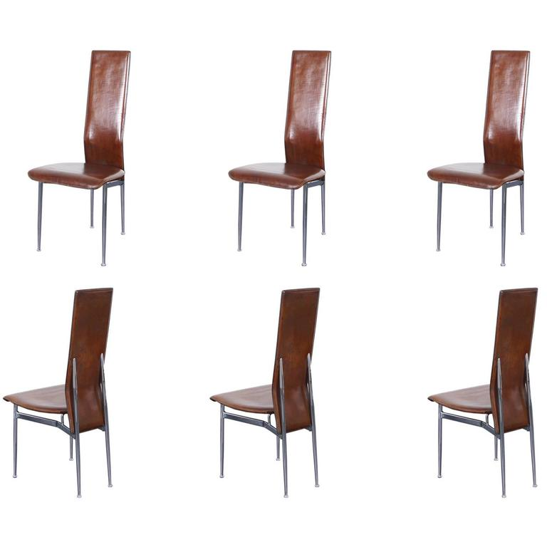 Italian leather dining chairs for sale at 1stdibs for Leather dining room chairs on sale
