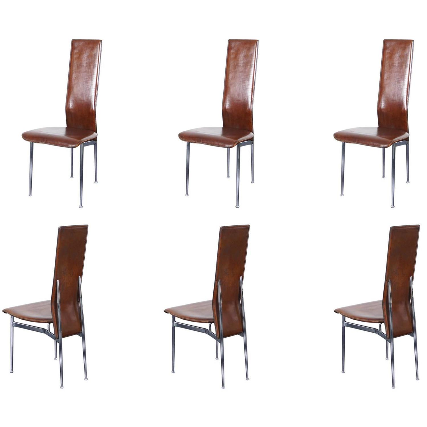 Italian leather dining chairs for sale at 1stdibs for Modern leather dining room chairs