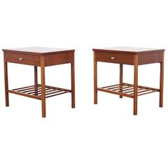 Vintage Walnut and Rosewood Nightstands by Stanley