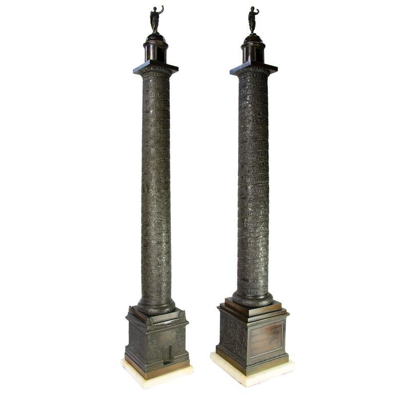 """Pair of 34"""" Bronze Trajan's & Marcus Aurelius' Column Models, circa 1820, Rome For Sale"""