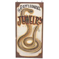 "Vintage ""Rattlesnake Jewelry"" Sign"