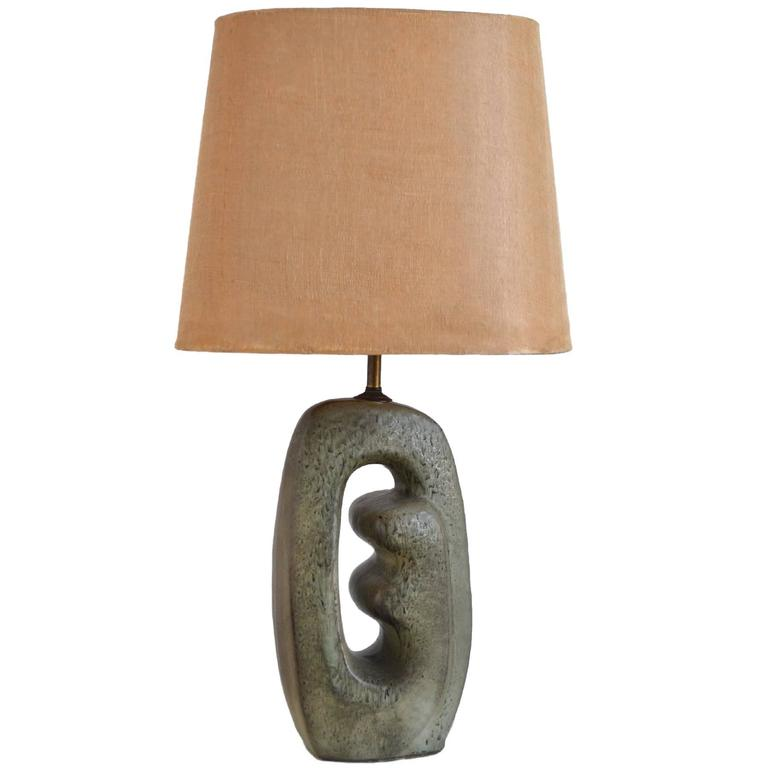 1950s Table Lamp with Sculptural Base For Sale