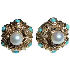 14k Yellow Gold, Pearl and Turquoise Pair of Pierced Earrings