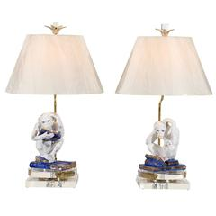 Scholary Pair of Vintage Italian Monkey Sculptures as Custom Lamps