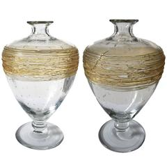 American H.C. Fry Glass Pair of Bottle Vases with Gold Thread Wraps