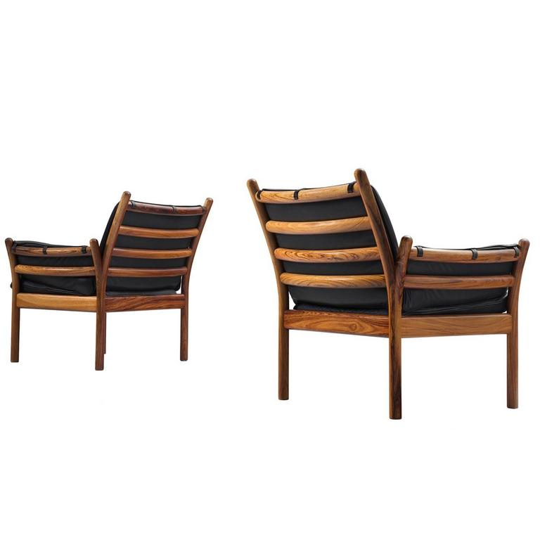 Illum Wikkelsø Set of Two Lounge Chairs in Solid Rosewood and Black Leather