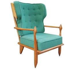 Guillerme et Chambron, Oak Bergere Chair, circa 1960, Edition Votre Maison