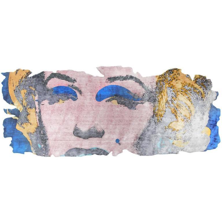Henzel Studio Andy Warhol Rug Marilyn Barivierra Ice Cut PR 031H For Sale