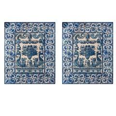 Pair of 18th Century Azulejos Flower Murals in Blue