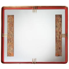 Mirror Whit Roman Design in Gold Leaf, Red Metal and Brass, circa 1955