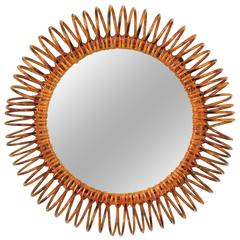 Spiral Rattan Circular Mirror in the Manner of Franco Albini