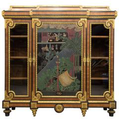 Paul Sormani Ormolu-Mounted Bookcase with Japanese Decor, Napoleon Three Style