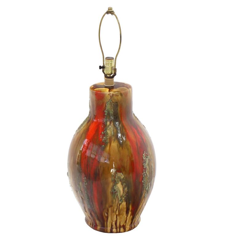 Art Pottery Drip Glazed Vase Shape Table Lamp Red and Yellow Lava