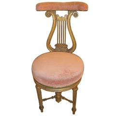 Victorian Adjustable Lyre Gold Harp Piano Chair