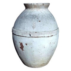 White Washed Cement Storage Jar