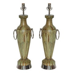 Pair of Glazed Ceramic lamps with Double Hoops