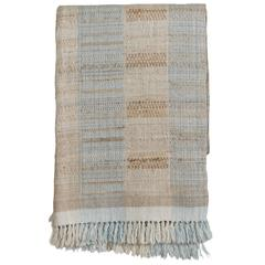 Indian Handwoven Throw, Light Blue, Beige and Ivory, Wool and Raw Silk