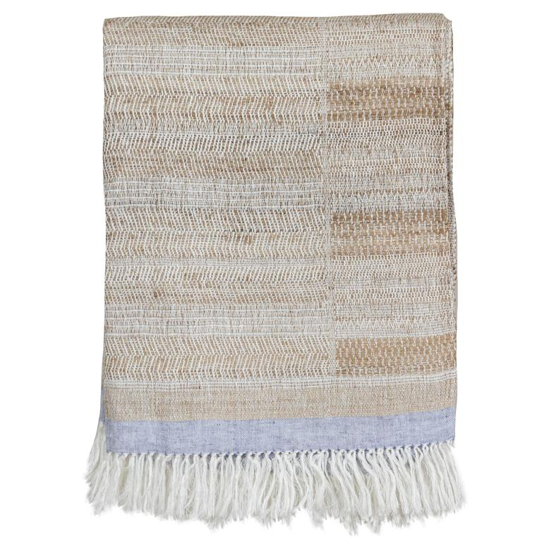 Indian Handwoven Throw Oatmeal, Ivory and Light Blue, Linen and Raw Silk For Sale