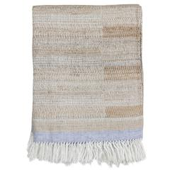 Indian Handwoven Throw Oatmeal, Ivory and Light Blue, Linen and Raw Silk