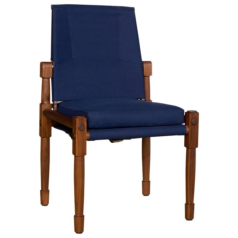 Walnut Armless Chatwin Dining Chair or Side Chair with Navy Canvas Upholstery For Sale  sc 1 st  1stDibs & Walnut Armless Chatwin Dining Chair or Side Chair with Navy Canvas ...