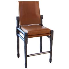 Walnut Armless Chatwin Counter, Bar Chair, or Bar Stool with Leather Upholstery