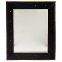 Rectangular Walnut and Black Leather Mirror