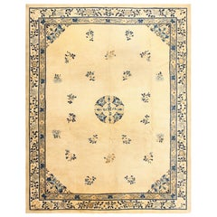 Antique Ivory and Blue Chinese Rug. Size: 9 ft 4 in x 11 ft 7 in