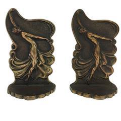 Bronze Art Deco Dancing Flapper Bookends by Drucklieb