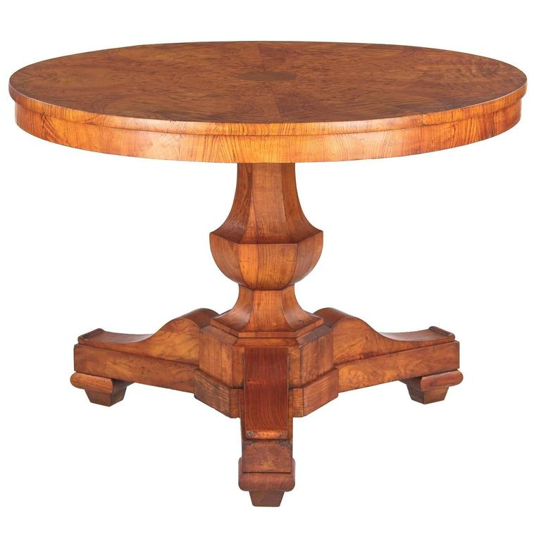 French Charles X Period Ashwood Pedestal Table, Early 1800s For Sale