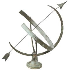 Early 20th Century Metal Armillary Sphere Sundial with Arrow