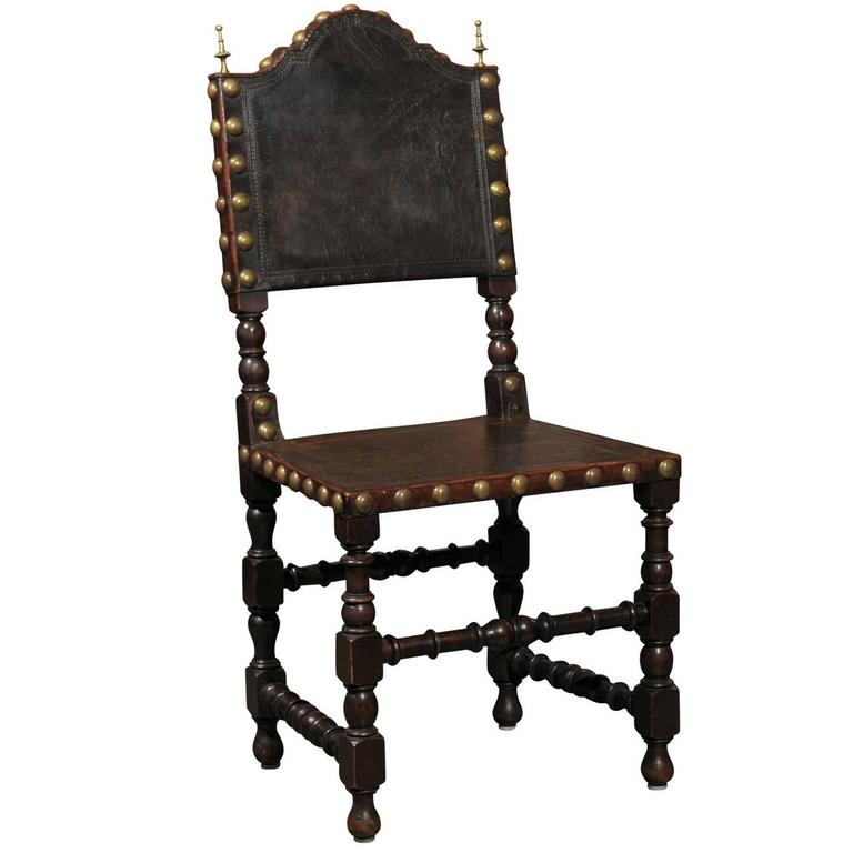 English Early 20th Century Single Leather Side Spanish Renaissance Style Chair