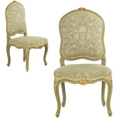 Pair of French Louis XV Style Green Painted Antique Side Chairs, 19th Century
