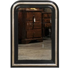 French Louis-Philippe Style Black and Silver Mirror with Etched Ridges From 1900