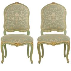 19th Century Pair of Green Distressed Painted Louis XV Style Side Chairs