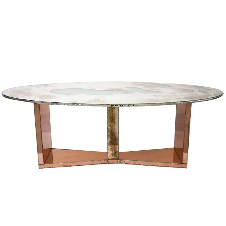 Butterfly Dining Table Wood Base Coated Silvered Glass And Silver Glass Top  For Sale