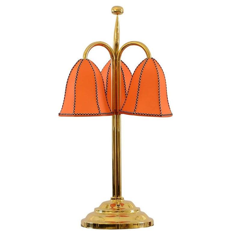 Josef Hoffmann&Wiener Werkstaette Silk&Brass Table Lamp,  Re-Edition  For Sale
