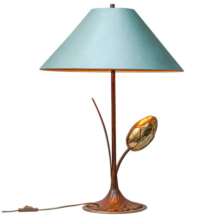 1970s Brass Tulip Table Lamp For Sale