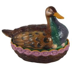 19th Century English Majolica Duck Tureen William Brownfield