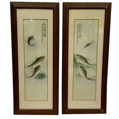 Pair of Chinese Export Porcelain Framed Plaques