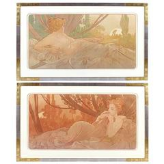 """Pair of French Art Nouveau Lithographs, """"Dawn and Dusk"""", by Alphonse Mucha"""