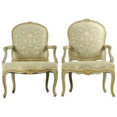 Pair of French Louis XV Style Pegged Antique Fauteuil Armchairs, 19th Century
