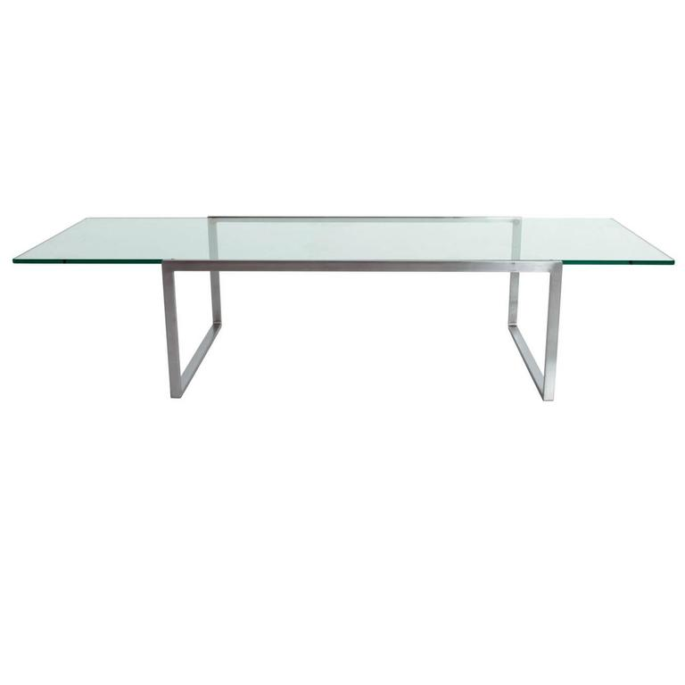 Glass And Stainless Steel Coffee Table At 1stdibs