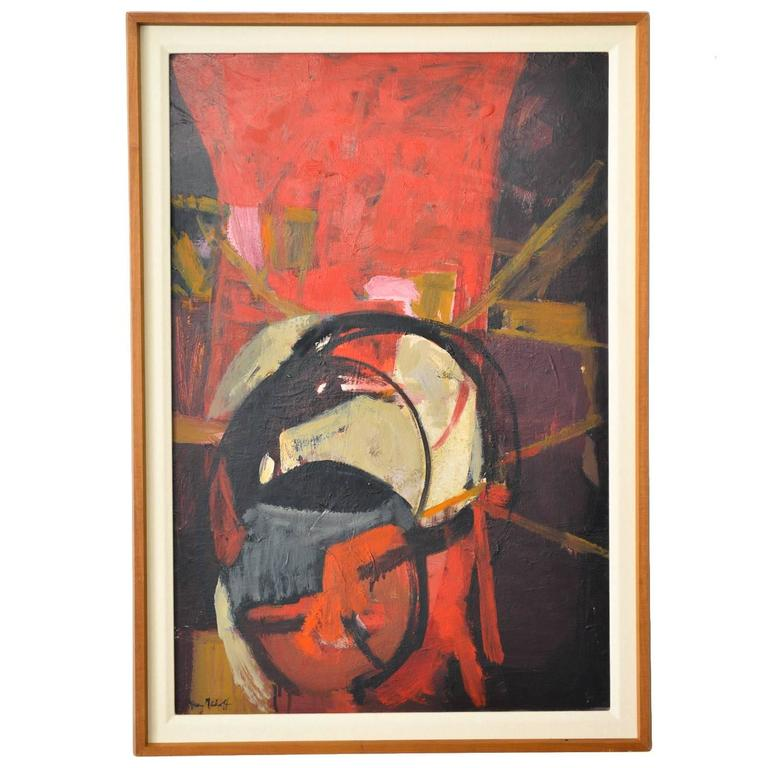 Oil on Canvas Abstract Painting, Frances D. Madoff, circa 1960 For Sale