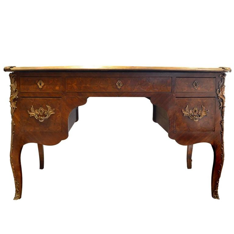 Petite Antique French Marquetry Inlay Louis Xv Ormolu Writing Desk For