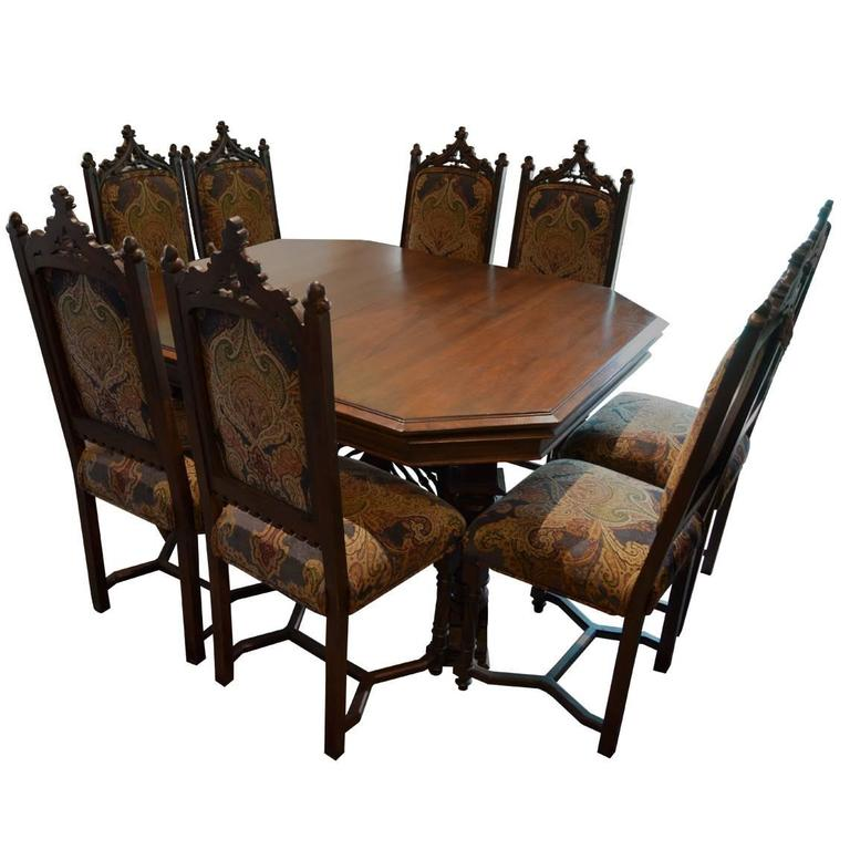 Antique Gothic Style Dining Table With Eight Chairs Three Leafs For