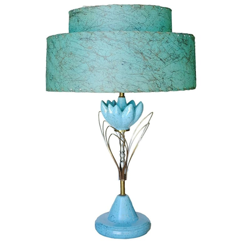Ceramic Sculptural Lotus Table lamp with Whipstitch Shade For Sale