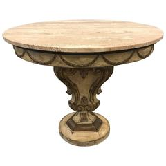 Italian Painted Travertine Top Venetian Style Center Table