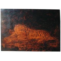 Regency Pyrography Panel of a Tiger by Joseph Smith after George Stubbs