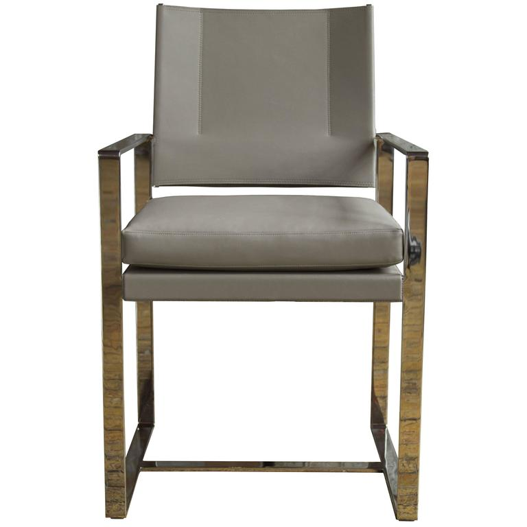 Maclaren type 2 dining chair in polished stainless steel for Leather and steel dining chairs