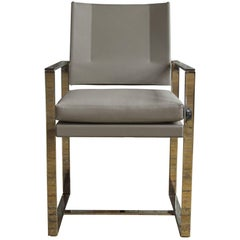 St. Cloud Dining Chair in Polished Stainless Steel and Light Grey Leather